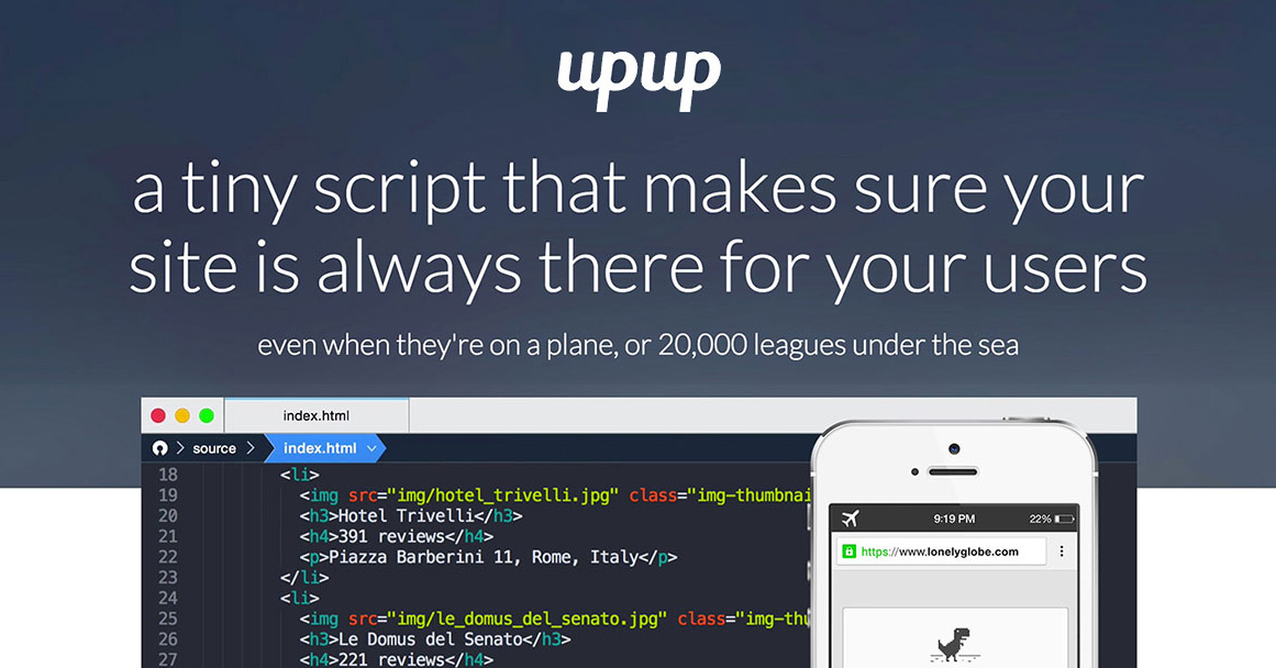UpUp - Offline First in 1 line of Javascript